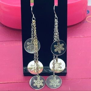 Dangle snowflake coin earrings